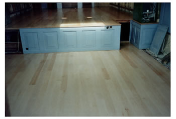 New wood floor, Kingston upon Thames. This new wooden flooring was installed in a boat.   We installed a maple floor..
