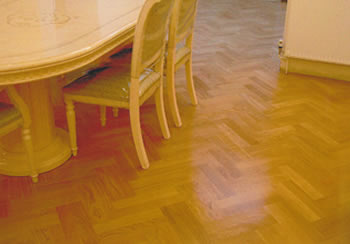 European oak wood floor installation. We installed this new european prime grade oak flooring in a double herringbone pattern with a satin finish..